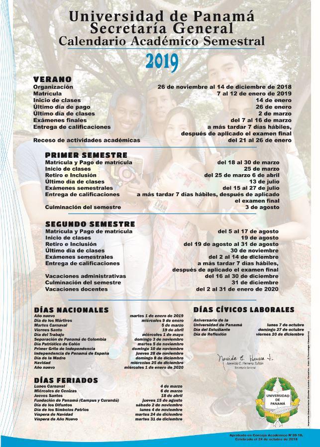 Calendario Escolar Universidad De Panama 2019.Calendario 2020 Primer Semestre