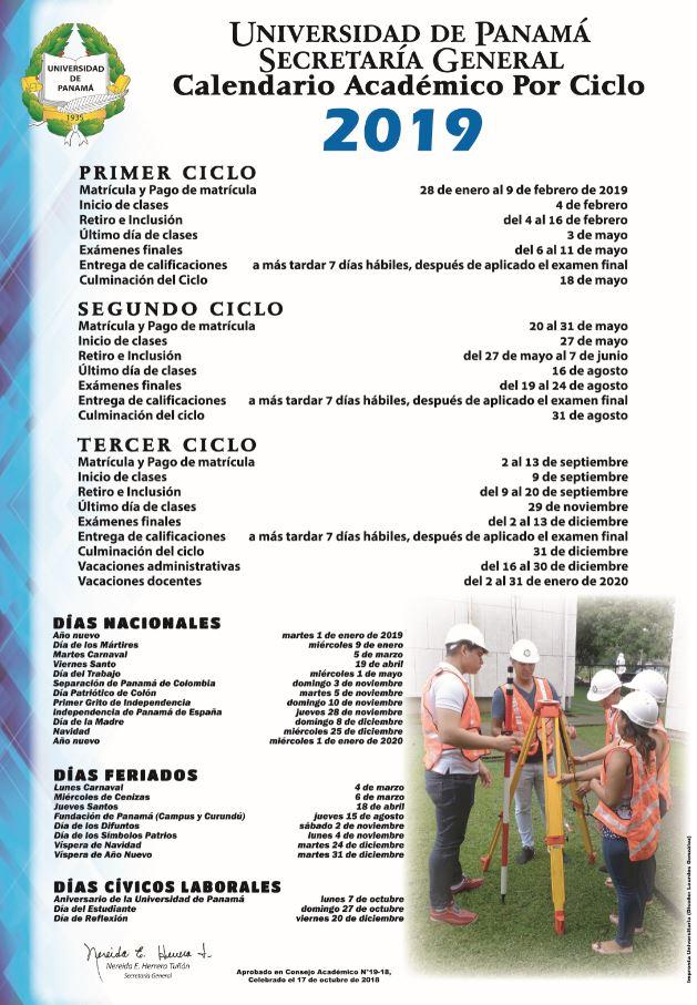 Calendario Panama 2019 Con Festivos.Calendario Academico Por Ciclo 2019 Universidad De Panama